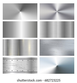 Metal texture background with rivets. Metal surface finishing texture realistic icons collection with satin brushed and polish samples. Metal texture realistic sheets horizontal banners set of panels.