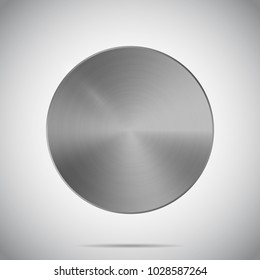 Metal texture template with realistic shadow and glare on gradient background. Metallic round surface. Vector illustration. Mockup for medal, button, print, web, technology. Steel, iron, aluminum icon