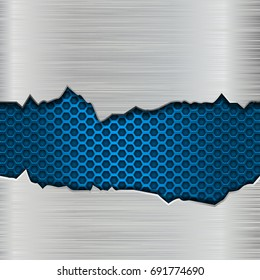 Metal texture with torn edges and blue perforation. Vector 3d illustration