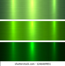 Metal textures green, brushed metallic backgrounds vector illustration.