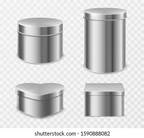 Metal tin boxes for tea, candies or coffee. Vector realistic mockup of small and tall round, square and heart shape cans for packaging dry products and sweets isolated on transparent background