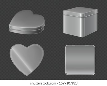 Metal tin boxes for tea, sugar or coffee front and top view. Vector realistic mockup of square and heart shape cans for gift packaging candies and sweets isolated on transparent background