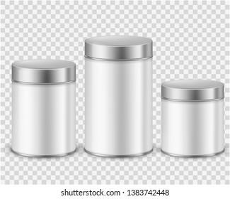 Metal tin can container. Template packaging dry products tea coffee sugar cereals spice powder rounded cans mockup. Realistic vector collection