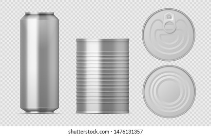 Metal tin can. Realistic food packages blank cylinder templates, aluminum conserved boxes with different views. Vector isolated illustration packaging set