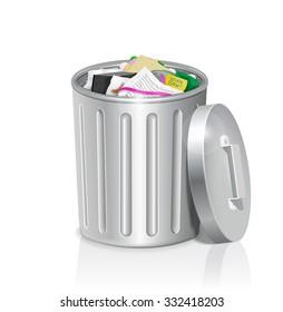 Metal trash can full of office garbage.