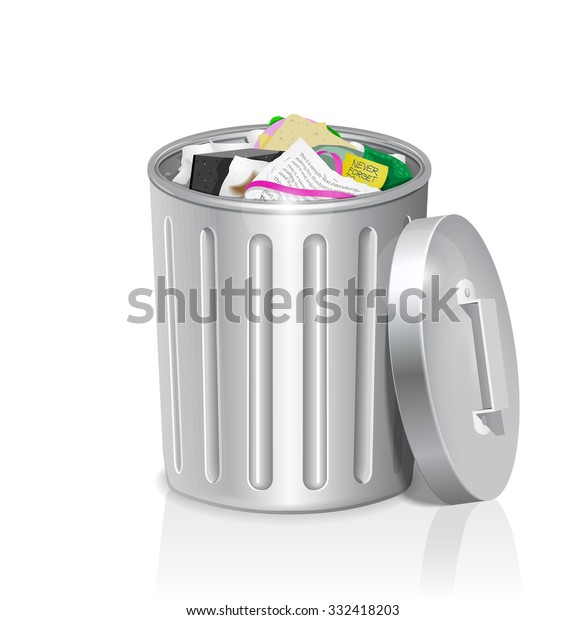 Metal Trash Can Full Office Garbage Stock Vector Royalty Free 332418203