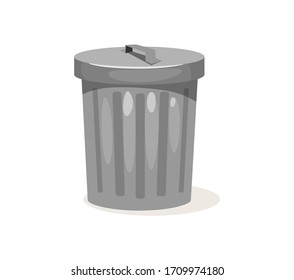 Metal trashcan for garbage with closed cover vector illustration. Empty rubbish can cartoon design. Ecology and environment concept. Isolated on white background