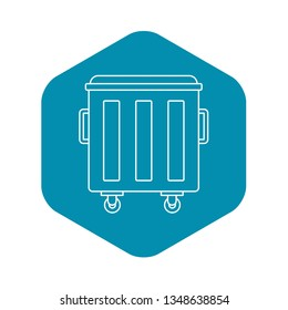 Metal trashcan icon. Outline illustration of metal trashcan vector icon for web