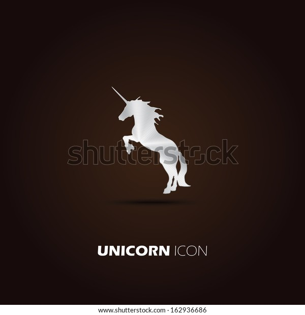 Metal unicorn icon. vector design