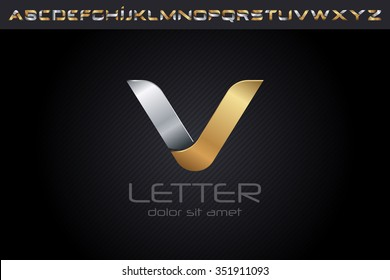 Metal V Letter Logo, alphabet logo design.