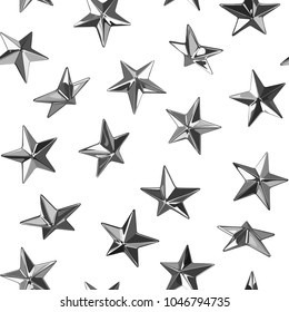 Metal vector punk star studs seamless pattern on white background.