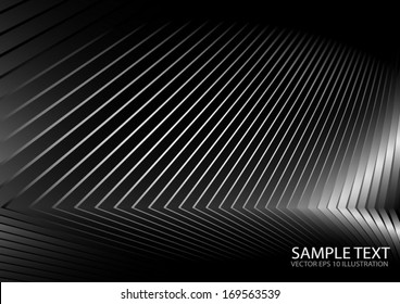 Metal vector  surface curves  lighted and reflected - Silver metal vector background illustration