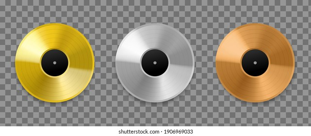 Metal vinyl record. Realistic 3d golden, bronze and platinum top charts audio discs, musical awards albums songs, silver and pink gold mockup. Vector set isolated on transparent background