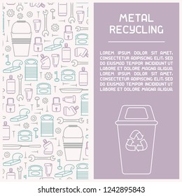Metal waste recycling information booklet. Line style vector illustration. There is place for your text