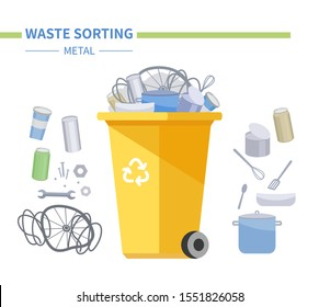 Metal waste recycling - modern flat design style illustration. Ecological visual aid with recyclable litter, metallic objects and a yellow bin. Kitchen utensils, tools, cans utilization. Eco concept