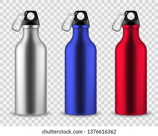 Metal water bottle. Drinking reusable bottles, drink aluminum flask fitness sports realistic stainless vector set isolated on transparent background