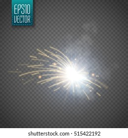 Metal Welding with sparks isolated on transparent background. Vector illustration