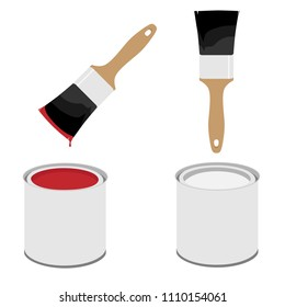 Metal white paint can with red paint and paintbrush with wooden handle vector illustration