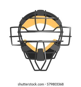 Metal Wire Face Protection Catcher Mask, Part Of Baseball Player Ammunition And Equipment Set Isolated Objects