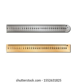 Metal and wooden centimeter straight rulers realistic vector objects measuring devices close-up view