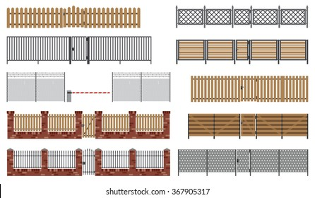 Metal and wooden fences and gates in flat style. Simple vector illustration.