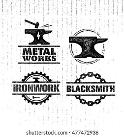 Metal Works Custom Smith Creative Vector Design Elements On Distressed Background.