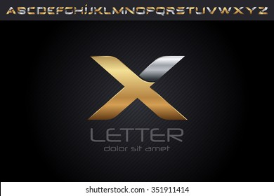 Metal X Letter Logo, alphabet logo design.
