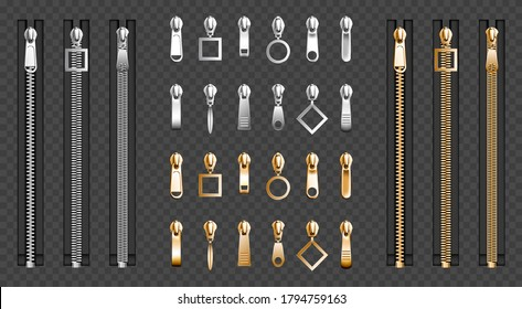 Metal zip fasteners, silver golden zippers with differently shaped puller and closed black fabric tape, clothing hardware isolated on transparent background, Realistic 3d vector illustration, set