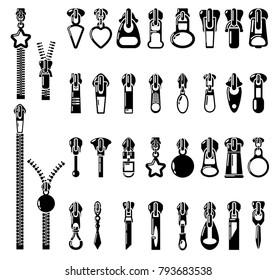 Metal zipper puller icons set. Simple illustration of 32 Metal zipper puller vector icons for web