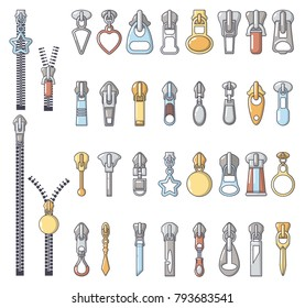 Metal zipper puller icons set. Cartoon illustration of 32 Metal zipper puller vector icons for web
