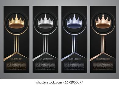 Metalic crown in black banner, Gold, Platinum, Silver, Bronze, Vector illustration.