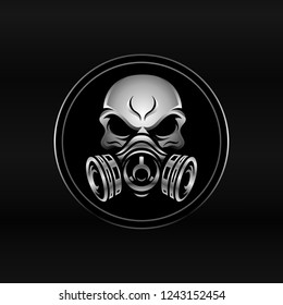 Metalic Skull With Gas Mask