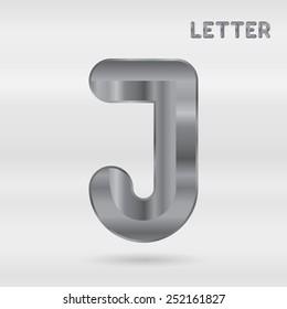 Metallic alphabet. Set of stainless 3d letters. Vector letter J.