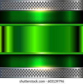 Metallic background, green metal perforated texture, vector polished metal