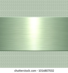 Metallic background, green metal plate texture - vector polished metal