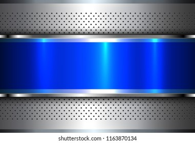 Metallic background silver blue, polished steel texture, vector design.
