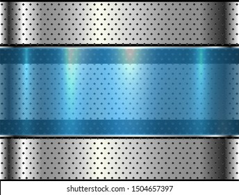 Metallic background silver blue polished steel texture, vector design.