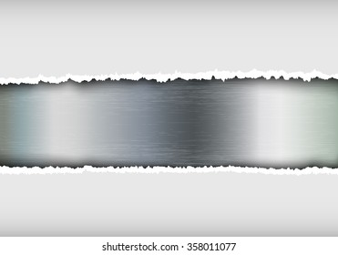 metallic background with torn paper and place for text