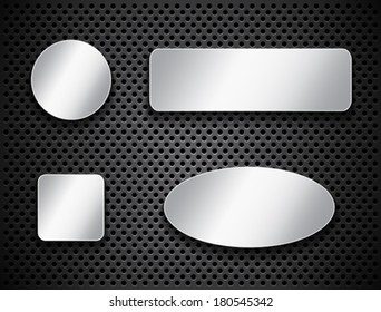 Metallic banners. Silver buttons on textured background. Icons. Vector illustration