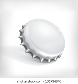 Metallic bottle cap on white background
