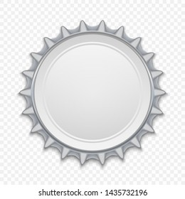 Metallic bottle cap on white background. Down view