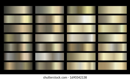 Metallic, bronze, gold, silver, chrome, copper metal foil texture gradient template Vector swatch set. Metallic gradient illustration gradation for backgrounds, banner interface Vector template design