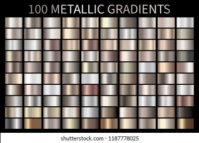 Metallic, bronze, silver, gold, chrome, copper metal foil texture gradient template Vector swatch set. Metallic gradient illustration gradation for backgrounds, banner interface Vector template design