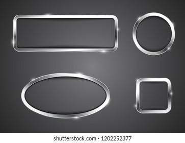 Metallic button frames. Billboards in different shapes. Icons for websites. Empty banners. Vector illustration