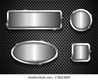 Metallic buttons on textured background. Vector illustration