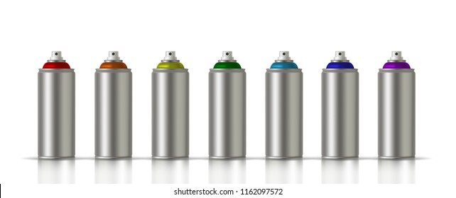 Metallic cans of spray paint in various colors. Colors of Rainbow. Vector illustration EPS 10