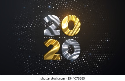 Metallic characters 2020 with wavy sculpted pattern. Happy New Year 2020. Holiday NYE event sign. Vector 3d illustration. Shimmering background. Bursting backdrop with glitters. Festive banner design