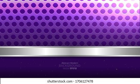 Metallic chrome silver violet purple elegant realistic geometric abstract modern frame vector background hi-tech techno futuristic rippled decoration, luxury strong design for web and print template
