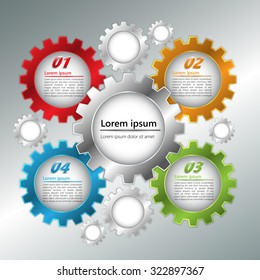 Metallic Color Gear/Miscellaneous Symbols with Business Icon, Number and Text Information Design. Workflow Layout & 4 Step Process Diagram. Vector Illustration