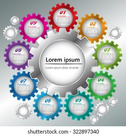 Metallic Color Gear/Miscellaneous Symbols with Number and Text Information Design. Workflow Layout & 9 Step Process Diagram. Vector Illustration